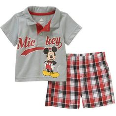 Mickey Mouse Newborn Baby Boys' License Knit Polo and Woven Plaid Short 2 Piece Set - Walmart.com