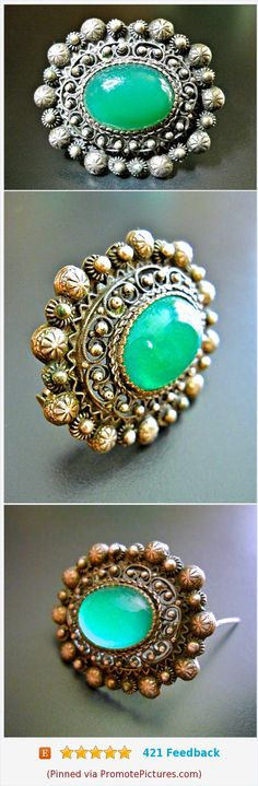 800 Silver Chrysoprase Austro Hungarian Brooch, Georgian to Pre-Victorian, Trombone Clasp, Antique #brooch #antique #800silver #austrohungarian #gemstone #chrysoprase #green https://www.etsy.com/renaissancefair/listing/555297174/800-silver-chrysoprase-austro-hungarian?ref=listings_manager_grid  (Pinned using https://PromotePictures.com)