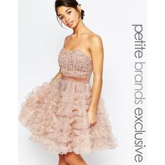 True Decadence Petite Rosebud Bodice Layer Prom Dress ($146) ❤ liked on Polyvore featuring dresses, pink, pink cocktail dress, fit and flare dress, pink rose dresses, sweetheart prom dresses and cocktail prom dress