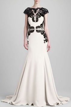 Lela Rose Cap-Sleeve Backless Lace & Cady Gown, $4,695, available at Neiman Marcus.