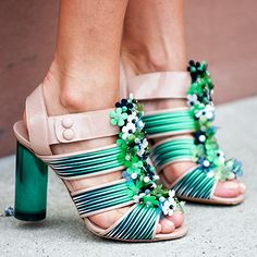 Amazing shoes on the street outside the New York Fashion Week tent!