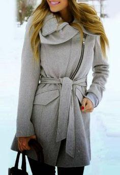 Stylish Turn-Down Collar Long Sleeve Zip Up Spliced Women's Belted Coat