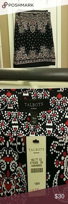 Women's Knee Length Skirt Cotton casual print black skirt Talbots Skirts Midi