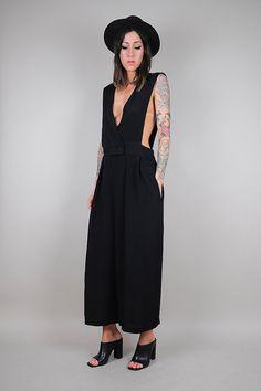 black vtg 80's SUSPENDER Wide Leg palazzo jumpsuit /// NOIROHIO X @dustyrose vintage