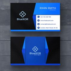 Blue and black modern business card Free Psd