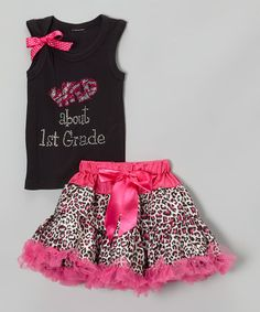 SHE LOOKED SO CUTE IN THIS OUTFIT     Another great find on #zulily! Black 'Wild About 1st Grade' Tank & Pettiskirt - Girls by So Girly & Twirly #zulilyfinds