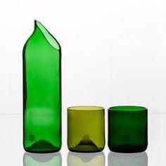 Carafe & Glasses Set Green, old glass bottles