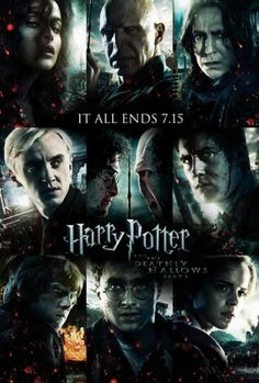 "11x17 Inch Harry Potter and The Deathly Hallows Part 2 Movie Poster features Bellatrix Lestrange, Lord Voldemort, Severus Snape, Draco Malfoy, Harry Potter facing off with Voldemort over the Elder Wand, Neville Longbottom, Ron Weasley, Harry Potter, and Hermione Granger. The text reads, ""IT ALL ENDS 7.15″. Get it now at http://harrypottermovieposters.com/product/harry-potter-and-the-deathly-hallows-part-2-movie-poster-style-z-11x17-inch-mini-poster/"