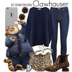 Clawhauser * blue or denim top / jeans / brown boots / black & cat jewelry / leopard print scarf / donut jewelry Cute Disney Outfits, Disney Themed Outfits, Movie Inspired Outfits, Disney Inspired Fashion, Disney Bound Outfits, Cute Outfits, Disney Fashion, Disney Clothes, Fandom Fashion