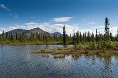 Lake and mountains off the Dempster Highway in the Yukon, Canada