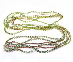 Vintage Gold, Green Plastic Chain Necklace