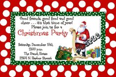 Santa Claus' Bag Christmas Party Invitations - Get these cards RIGHT NOW. Design yourself online, download and print IMMEDIATELY! Or choose my printing services. No software download is required. Free to try!