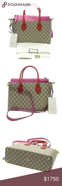 NWT Gucci GG Supreme Tote Gucci  GG Supreme  beige brown GG supreme canvas hibiscus leather  and pink leather  trim gold tone hardware protective feel optional  shoulder  strap Gucci Bags Totes