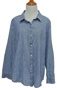 """J JILL Soft Faded Denim Chambray Cotton Button Down Shirt Top Blouse XL 46"""" Bust #JJill #ButtonDownShirt #Casual"""