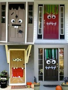 Halloween Party Ideas: Looking For A Way To Spook Your Guests Before They Even Step Foot In The House? Here Are 18 Monster Door Ideas! A Sure Way To Freak Out Your Friends On The Doorstep…These Halloween Door Coverings Are Cheap, Colorful And Such Fun To Deco Porte Halloween, Casa Halloween, Theme Halloween, Holidays Halloween, Happy Halloween, Homemade Halloween, Women Halloween, Halloween Recipe, Halloween Projects