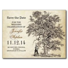 save the date artistic postcards with vintage love tree and romantic couple drawing.