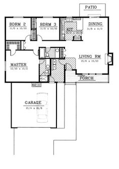 First Floor Plan of Country   Ranch   Traditional   House Plan 91844