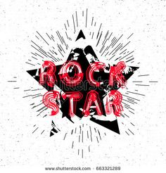 Rock star design for t-shirt. Rock badge. Grunge background. Vector Illustration.