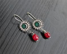 Green Onyx & Ruby Silver Jhumkas green onyx by SaruchiRJewellery