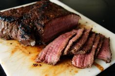 London broil recipe. Very good. Had a thick cut. Did 10ish minutes in oven at 325 after searing.