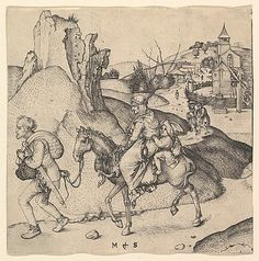 """Peasant Family Going to Market,"" Martin Schongauer, engraving, date given as 15th centruy (probably c. 1460-91). Metropolitan Museum of Art accession no. 41.1.8"