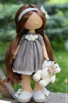 Милая девочка) - коричневый,кукла ручной работы,кукла,кукла текстильная