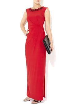 Red Embellished Necklace Maxi Dress #MyChristmasStory