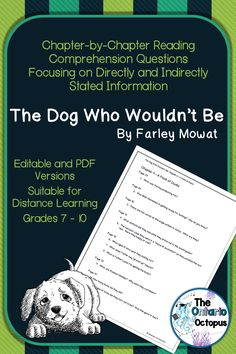 Farley Mowat's hilarious memoir is perfect for older readers who need practice identifying directly and indirectly stated information in a text. Includes chapter by chapter (page by page) questions in editable (Word) and PDF formats. Reading Comprehension Skills, Comprehension Questions, Teaching French, Teaching Spanish, Canadian Social Studies, Ontario Curriculum, Social Studies Lesson Plans, Spanish Language Learning, Spanish Lessons