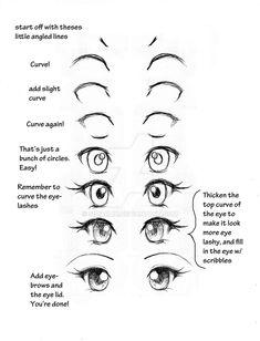 Eye tutorial by *simarlin on deviantart. eye tutorial by *simarlin on deviantart anime eyes drawing, easy manga drawings Drawing Skills, Drawing Techniques, Drawing Tips, Drawing Sketches, Drawing Ideas, Sketching, Anime Drawing Tutorials, Drawing Art, How To Draw Anime Eyes