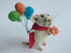 Needle felted Mouse. Mouse with Balloons and Rose. Birthday gift. Baby Shower Gift. Cake topper. Tiny felted Mouse. by OlgaHappyHandmades on Etsy