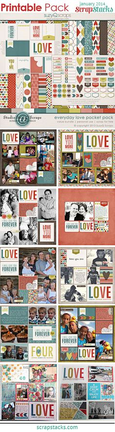 Featured Designer: SuzyQ Scraps at Scrap Stacks — Everyday Love Pocket Pack, for digital and pocket scrapbookers