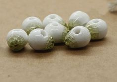 10PCS Cracked ice pattern Ceramic beads, Porcelain Beads,Ceramic round beads, 10mm×9mm, by ForDIYsupplies on Etsy