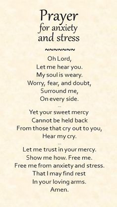 PLEASE LORD,  hear my cries.  My Anxiety, Stress & Panic overwhelm me. I trust in you to help in relieving & overcoming this. I Pray to you dear Lord God have Mercy on me. Amen.