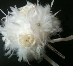 IVORY BLING Crystal Feather & Flower by kristindangerdesigns, $50.00