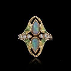Gold, opals, diamonds and enamel Art Nouveau style ring.