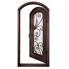 Iron Doors Unlimited Flusso Center Arch Painted Heavy Bronze Decorative Wrought Iron Entry Door-IF4098REHW at The Home Depot