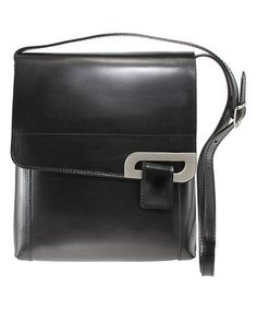 Look what I found on #zulily! Black Buckle-Accent Leather Crossbody Bag #zulilyfinds
