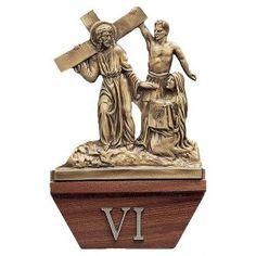 Vía Crucis 15 estaciones 24x24 cm latón dorado y madera | venta online en HOLYART