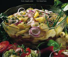 Ecetes-hagymás krumplisaláta Pasta Salad, Pickles, Potato Salad, Cake Recipes, Salads, Appetizers, Food And Drink, Potatoes, Vegetables