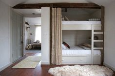 Every Single Awesome Bunk Room Featured on Lonny: Rustic finishes and simple construction give this Jersey Ice Cream Co.-designed bunk room a serene farmhouse vibe. Blueberry Home, Camden House, Bunk Beds Built In, Bunk Rooms, Built In Furniture, My Pool, Daughters Room, Kid Beds, Kids Bedroom