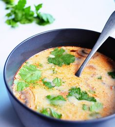 slow cooker Tom Kha Gai (Thai coconut soup) Recipe Soups with coconut milk, vegetable broth, firm tofu, lemongrass, ginger, fresh lime juice, curry paste, soy sauce, brown sugar, mushrooms, fresh cilantro, salt