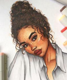 Black Girl Art, Black Women Art, Black Art, Art Girl, Black Girls, Art Drawings Sketches, Cool Drawings, Pretty Drawings Of Girls, Pretty Girl Drawing