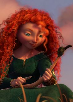Brave, Merida carving on her bow