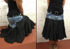damaged denim trousers turned into a summer skirt-personally I'd cut the back pockets out...