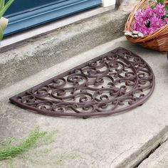 Heart Half Moon Cast Iron Door Mat by Dibor, the perfect gift for Explore more unique gifts in our curated marketplace. Iron Front Door, Front Door Mats, Iron Doors, Front Porch, Garden Lanterns, Rustic French, French Home Decor, Wrought Iron