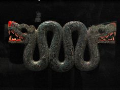 Turquoise mosaic of a double-headed serpent    Aztec/Mixtec, 15th-16th century AD  From Mexico
