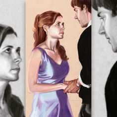 Jim & Pam of The Office, colored pencil series by. Best Tv Shows, Best Shows Ever, Movies And Tv Shows, Favorite Tv Shows, Office Memes, Funny Office, Office Quotes, Jim Pam, The Office Show