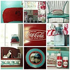 teal and red kitchen - would work wonderfully with my metal cabinets!