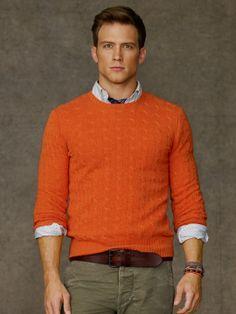 Preppy Orange Cabled Cashmere Crewneck by Ralph Lauren Orange Outfits, Adrette Outfits, Preppy Outfits, Sweater Outfits, Preppy Men, Preppy Style, Male Sweaters, Men Sweater, Looks Dark