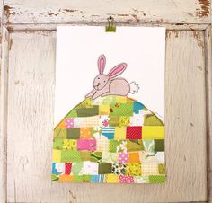 Bunny on patchwork hill - art print